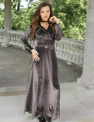 Pewter Apparel (Victorian Trading Co Pewter V Neck Velvet Long Dress Gown XL )