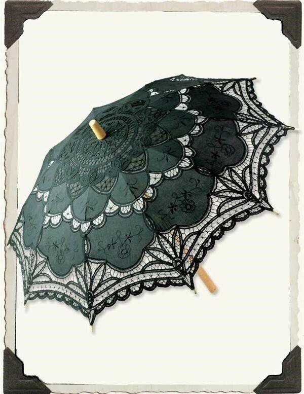 Victorian Trading Co Black Battenberg Lace Sun Parasol Umbrella Bamboo Handle 6B
