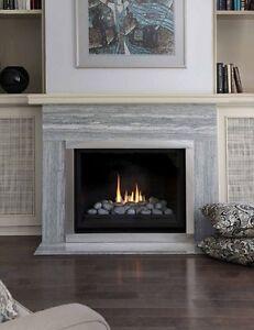 Montigo H38DF Fireplace with vent and mantel