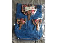 Vintage Blue Backpack With Floral Detail