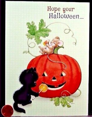 Black Kitty Halloween (Morehead Black Kitty Cat Mouse Mice Candy Pumpkin Halloween Greeting Card)