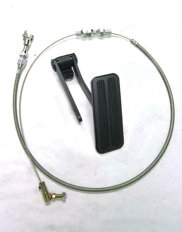 """Ford Chevy Plymouth Street Rod Black Aluminum Gas Pedal w/ 24"""" SS Throttle Cable"""