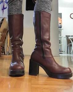 RARE VINTAGE 1970S Platform Boots Hippie Burgundy Leather 9 10 Made In Canada Original Hippy Boots