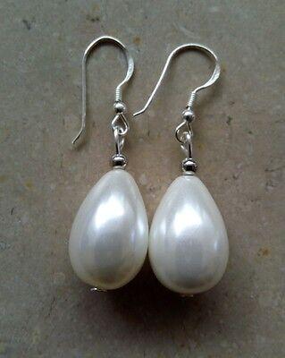 e Ohrhänger Muschelkernperlen Tropfen 20 mm Perlen *c116 (Perlen Ohrringe Tropfen)