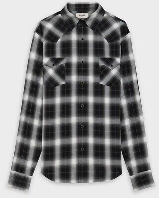 Celine Classic Ghost Check Western Shirt. Black. Size 42