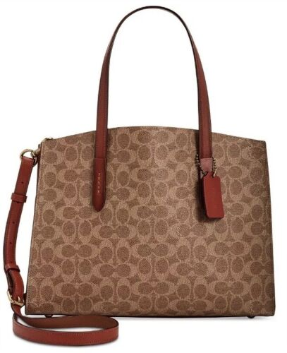 Coach Charlie Signature Brown Red Gold Medium Carryall Tote Bag