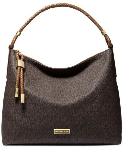 Michael Kors Lexington Signature Brown Luggage Gold Shoulder Bag