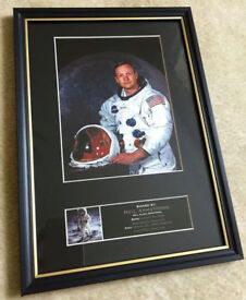 NASA Neil Armstrong Framed Picture Really Nice Collectible Mounted Apollo Moon Rocket Mission USA