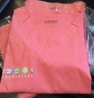 Landau Scrub Tops V-Neck Bubble Gum Pink XXL- 8219 CBP New in Bags Cbp Landau