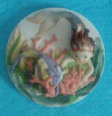 VINTAGE HTF LEFTON AUBURN MERMAID W/ FISH & SEA LIFE 3-D WALL PLAQUE MINT MARKED](Auburn Mermaids)