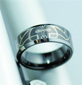 MENS SOLID Tungsten Carbide Black CROSS WEDDING RING Engagement Band