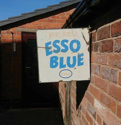 Vintage 100% Orginal Esso Blue Enamel Sign, Double Sided