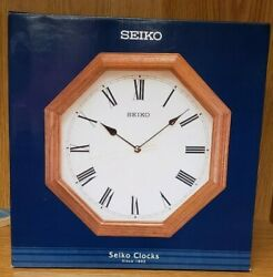NEW Seiko Octagonal Solid Oak Wood Wall Clock Model QXA152BL Quartz Brown 12