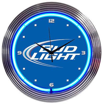 Bud Light Neon Clock sign Budweiser bar light lamp Beer Mancave Man cave New