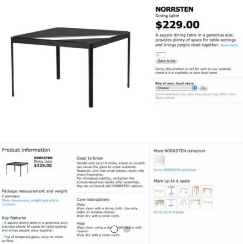 Black Glass Dining Table Ikea Norrsten