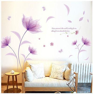 Wandtattoo Blume Schmetterling Lila Farbe Wandaufkleber Wandsticker Wohnzimmer