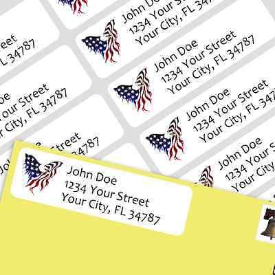 800 Personalized Return Self-adhesive Address Labels - American Eagle Flag