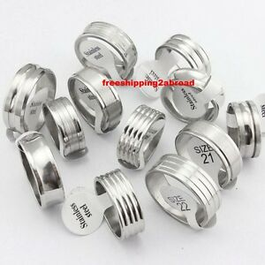 Wholesale-50pcs-silver-band-stainless-steel-rings-mens-Jewelry-lots
