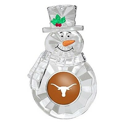 TEXAS LONGHORNS CLEAR SNOWMAN CRYSTAL ACRYLIC CHRISTMAS ORNAMENT W/ SCHOOL LOGO](Texas Snowman)