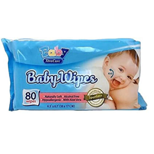 Kids  Baby Wipes 80 Count 6 x 4 inches Alcohol Free