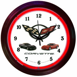 C5 Corvette White & Chrome Wall Clock with Crossed Flags Logo & Red Neon Light