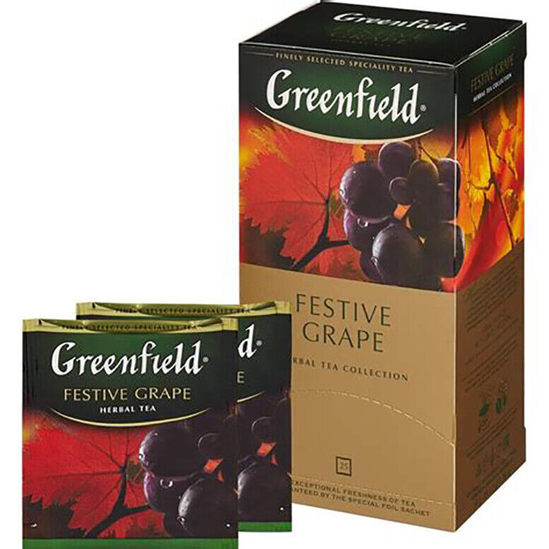 Greenfield BLACK TEA FESTIVE GRAPE Sealed BOX 25 US Seller I