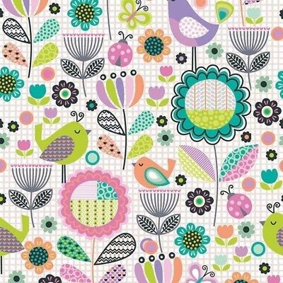 By The Yard Cotton Quilting, Sewing Fabric, Birds Flowers, Ladybugs, Fabri-Quilt