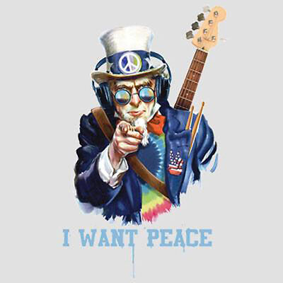 Uncle Sam I Want Peace Music Headphones Guitar Party Funny T-Shirt Tee (Uncle Sam Party)