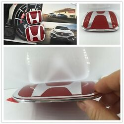 Red H Emblem 2PCS Set Front & Rear For 06-15 CIVIC SEDAN DX EX LX SI Car Nice