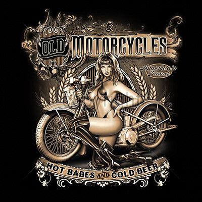 Old Motorcycles Hot Babes & Cold Beer Biker Pin Up Girl T-Shirt Tee](Hot Biker Girl)