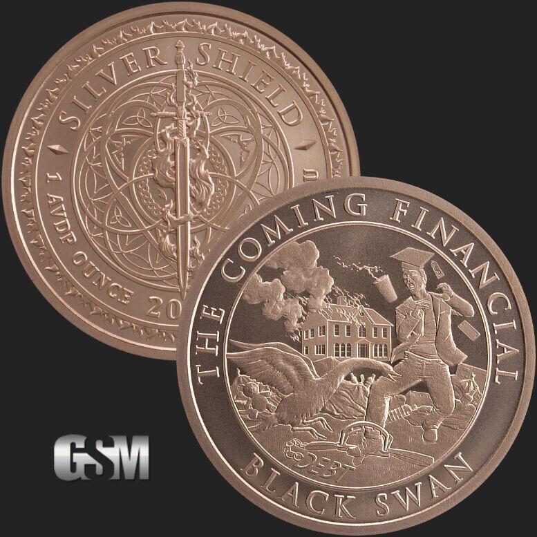 Copper Round  2019  MINI MINTAGE   #123   Silver Shield BLACK SWAN   1 oz