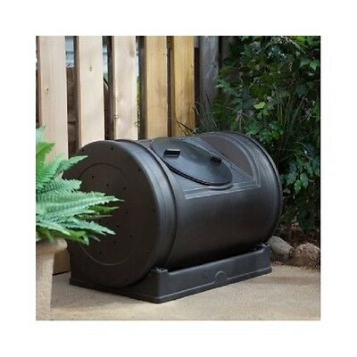 Recycled Plastic Compost Tumbler Black 52 Gallon Rotating Composting Bin No Stir Compost Plastic Composter