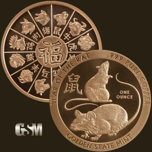 2020 Year of the Rat - Lunar New Year 1 oz .999 Fine Copper Rnd  - FREE Ship!!