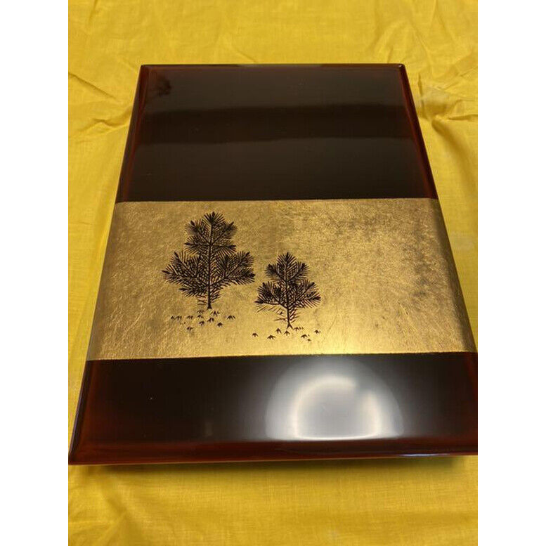 Japanese Wajima Lacquer Lidded Case Gold-Inlaid Lacquerware Makie w/Box