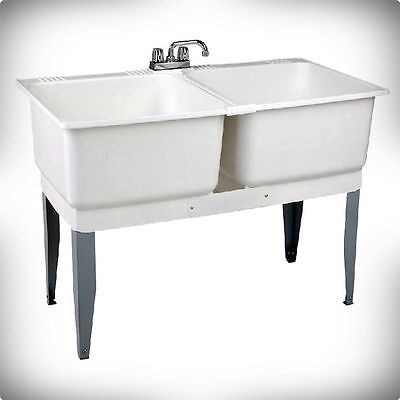 ​SALE MUSTEE 24C 46 INCH X 34 INCH PLASTIC LAUNDRY TUB DOUBLE BASIN E. L. SONS