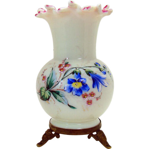 Stevens & Williams Cased Art Glass Enameled Vase with Bronze Mount - 1880