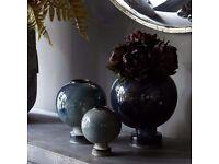 Set of 3 abigail ahern vases vase lamp artificial flowers retro vintage cost £120