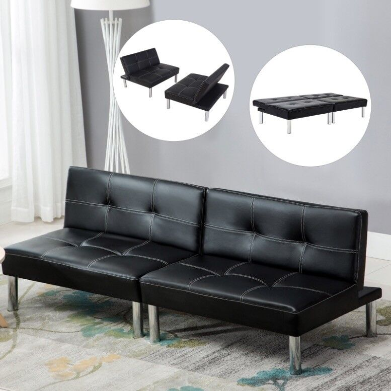Fold Down Sofa Bed Convertible Lounge Couch Leather