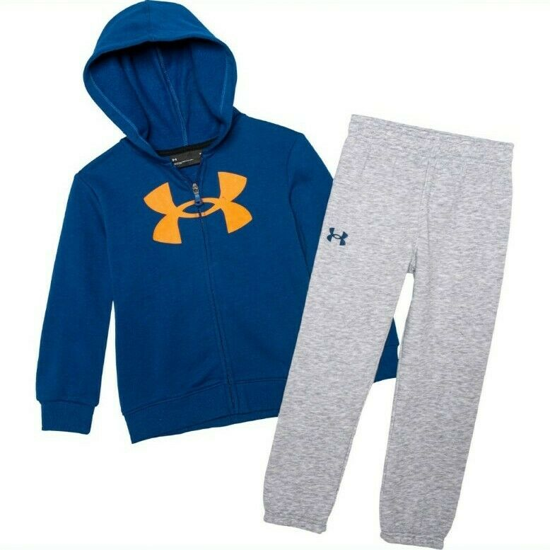 Under Armour Boys Logo Hoodie Jogger 2 Piece Set Blue Gray Size 4-7 NEW