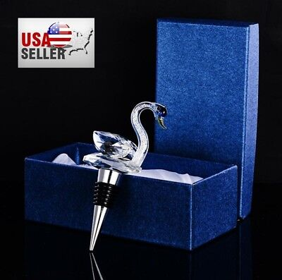 Crystal Swan Stainless Steel Decorative Wine and Beverage Bottle Cork Stopper (Decorative Wine Bottle Stoppers)