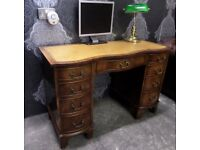 Fantastic Serpentine Chesterfield Leather Topped Double Pedestal Desk Dressing Table - UK Delivery