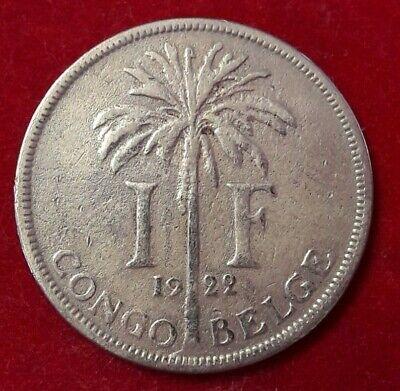 1 FRANC 1922 CONGO BELGE KM# 20, LA# BCM-13