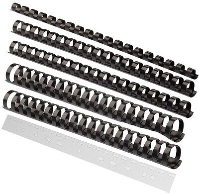 Sortiment 150 Teile / Plastik Binderücken schwarz (6 - 19 mm) + Abheftstreifen