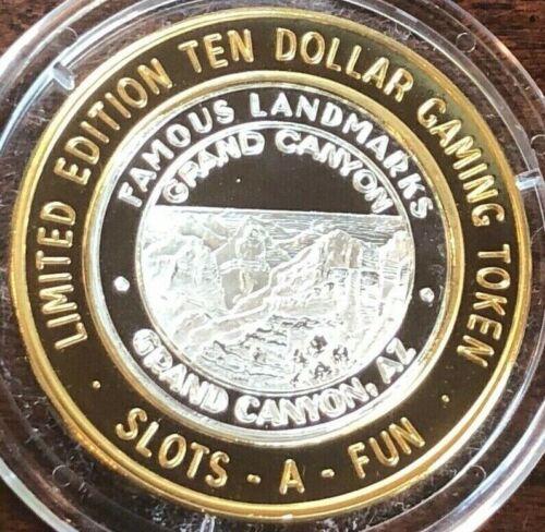 Slots A Fun Casino $10 Silver Strike Token 2005 Famous Landmarks Grand Canyon