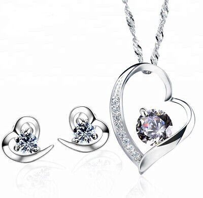 Schmuck Set Herz Kette Ohrringe mit SWAROVSKI KRISTALLEN 925 Sterling Silber Box