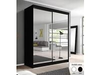 GERMAN 2 DOOR SLIDING WARDROBE 163CM WIDE WITH FULL MIRRORS IN BLACK WHITE COLOR