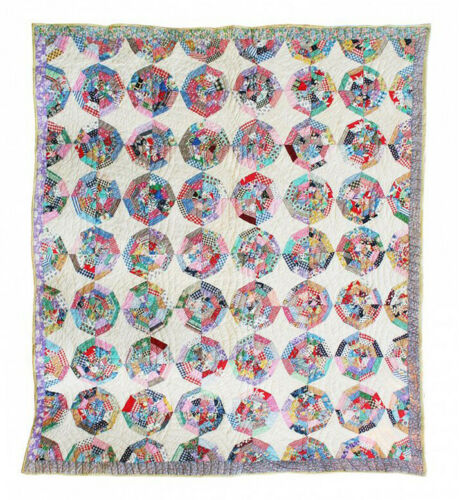 Antique Quilt, Spider Web Pieced Quilt, 1930