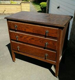 Vintage Solid Wood Chest of Drawers (on castors)