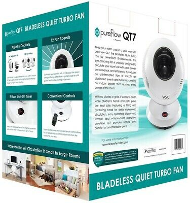 Oscillating Fan 12-Speed Remote Control Bladeless