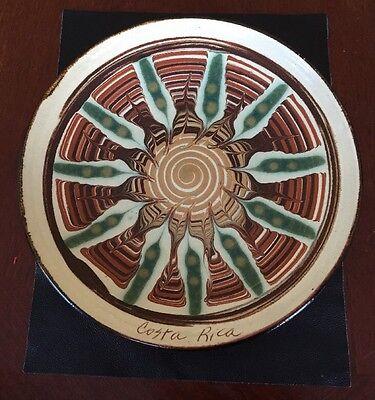 Handmade Pottery Glazed Terra Cotta Plate Dish Costa Rica Signed Dated 1992